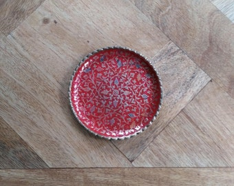Dish / vide poche red enameled brass