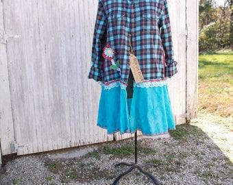 Flannel Shirt - Tunic - Boho Clothing - Upcycled - Womens Lg./XL A- Line Style - Jacket , Coat - Vintage Turquoise Flower and Lace