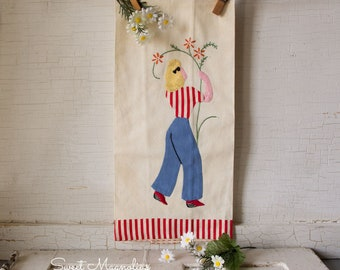 1940's Vintage Applique Kitchen Tea Towel ~ Garden Girl with Flowers