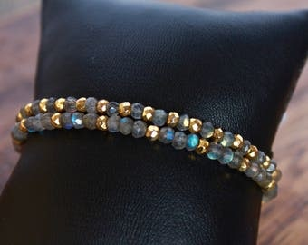Labradorite Stretch Stacking Bracelets