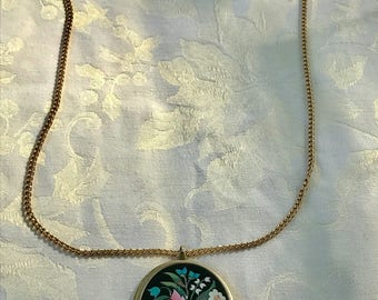 Avon Folk Art Pink and Blue Flower Pendant with Long Chain - 1974