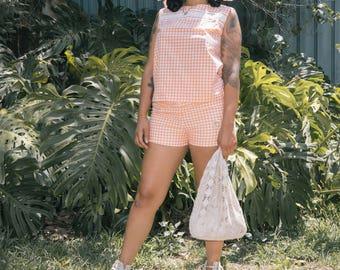 Vintage 70's peach gingham 2 piece set