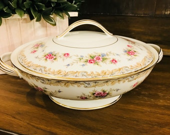 Vintage Noritake Somerset Round Vegetable Bowl With Lid - Pink Roses - Pattern 5317 - Dinner - Party