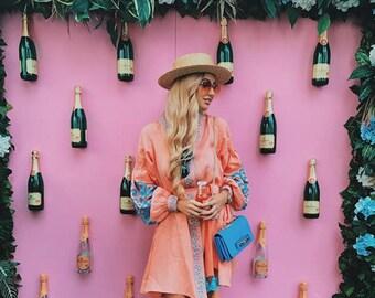 "Wow! New! Linen Embroidered Dress ""tree of life"" Ukrainian Vyshyvanka Dress Mexican Dress Kaftan Abaya, Caftan Free Shipping Boho style"