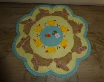 Wool blend felt, candle mat, bunnies, chicks, fish, spring decoration, kitchen decor, tabletop decor, housewarming gift,