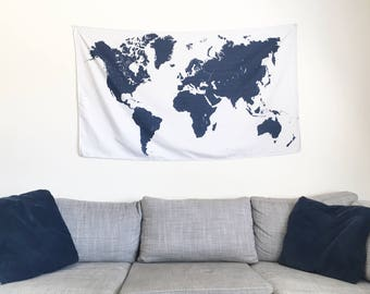 World Map Tapestry Wall Hanging world map tapestry | etsy