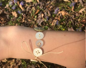 White Tie-on Button Bracelet