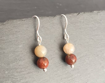Handmade 6mm round Agate ear-rings with 925 Sterling Silver ear-wires