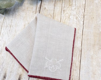 Beige Pocket Square. White Pocket Square. Red. Natural Cotton. Gift for Boyfriend. Wedding Gift. Groomsmen Gift. Best Man Gift.