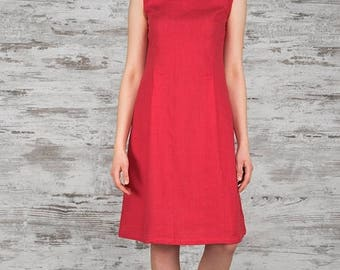 Raspberry Red Summer Dress 100% Linen