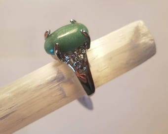 Green Jade Natural Stone Silver Ring 7 statement ring