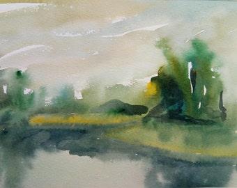ORIGINAL Watercolor painting, watercolor landscape painting, Original art, Summer landscape, meadow, field, river,home decor,green landscape