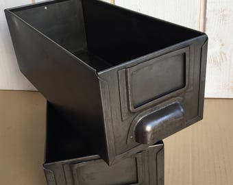 Set of 2 industrial drawers, metal locker, drawer factory, workshop