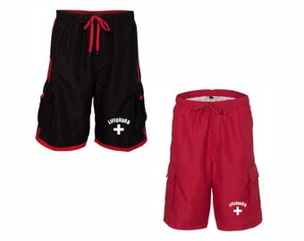LifeGuard Striped Swim Trunks Shorts  Guard YMCA Pool Staff