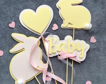 Bunny Centerpieces Bunny Spring Baby Girl Shower Centerpieces Rabbit Centerpieces Blush Yellow Bunny 1st Birthday Theme Table Decoration