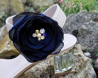 Navy crystal floral shoe clips Bridal rosal something blue shoe clip Dark blue shoe wedding accessories Prom Bridesmaid rose shoe decoration