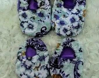 Baby Girl Purple & White Baby Shoe