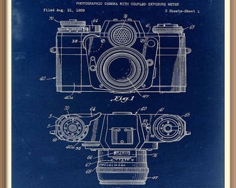 Old camera blueprint etsy vintage photographic camera patent print 1962 set on a vintage blue paper background instant download malvernweather Gallery