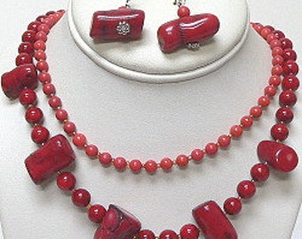 Genuine Coral Necklace Set
