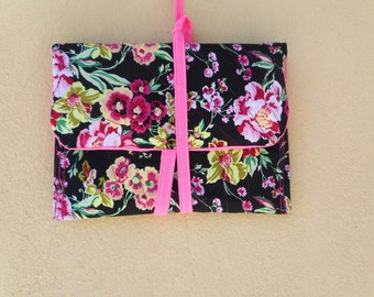 Clutch , flower print pencil case , cosmetic bag case , cord closure clutch , flower pochette , flower print , fuchsia pouch, black pouch