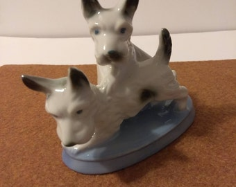 Vintage two Scottish Terrier Porcelain Dog Figurine.