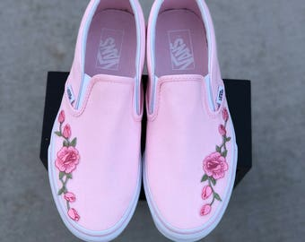 Custom vans, slip on vans, vans, vans shoes, womens sneakers, custom vans shoes, womens vans, painted vans, rose vans, custom sneakers, gift