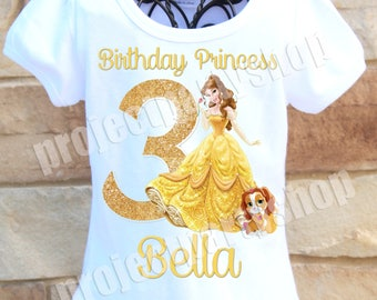 Princess Belle Birthday Shirt, Beauty and the Beast Birthday Shirt, Belle Birthday Shirt