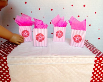 American Girl Birthday Party Favor Bags for 18 inch dolls, Doll Sized Treat Bags, Doll Party Accessories, AG Party Favors, (set of 4)