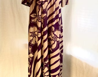 1970's Purple/beige floral Maxi/Tent dress