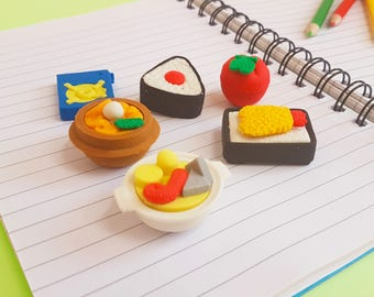 Set of 6 Cute Kawaii Erasers Sushi Set [ Back to School Stationery Supplies ]