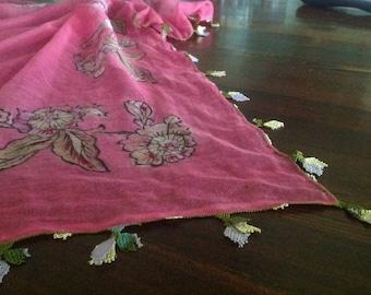 Turkish Gauzy Cotton Headscarf with Oya Needle Lace Border
