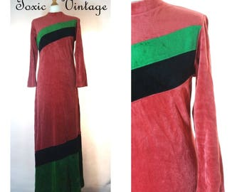 VINTAGE 1960's 1970's Dusky Pink Velvet Maxi Dress, Size 10-12, Retro, Chic, Boho, Disco, Chic, Festival