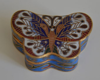 vintage Collectible Cloisonné butterfly box China S.XX