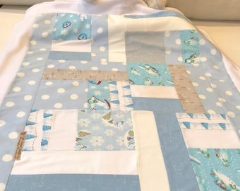snowman blanket, baby blanket, fleece blanket, blue blanket