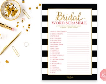 Bridal Shower Word Scramble - Wedding Shower Word Scramble - Black, White & Gold - Gold Glitter Word Scramble - BW001