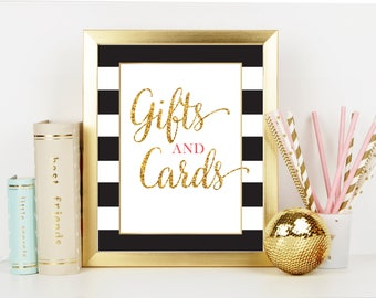 Gifts and Cards Bridal Shower Sign - Black and Gold Bridal Shower - Shower Table Sign - Printable Instant Download - BW001