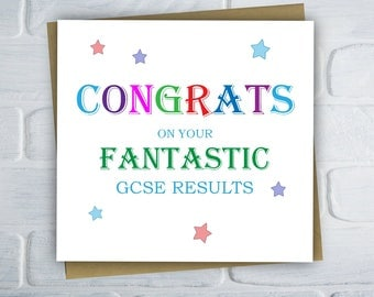 Exam Congratulations Card, Well Done Cards, GCSE Results Card, Free UK shipping