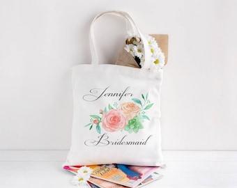 Personalized Tote Bag, Custom Wedding Tote Bag, Bridesmaid Tote Bag, Flower Girl Tote, Personalized Wedding Gift, Flower Tote, Floral Tote