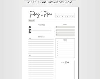 Daily planner printable, A5, planner insert, to do list, day organizer, instant download