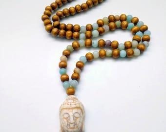 Wood & Rainbow Amazonite Buddha Mala
