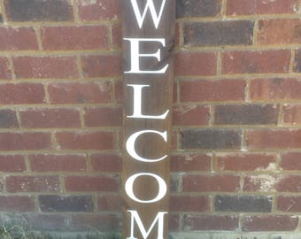 4.5 FT - Welcome Wooden Sign, Personlized Wooden Sign, Wooden Decor, Front Porch Wooden Welcome SIgn Decor