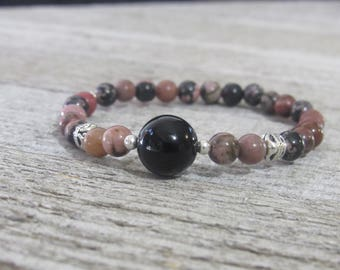 Rhodonite and Onyx Stretch Bracelet (Love, Healing, Balance, Strength, Determination, Protection)