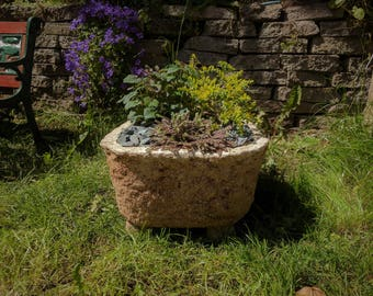 Handmade Hypertufa Stone Basin Patio Planter by Peregrine Stormwright