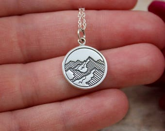 Sterling Silver Mountain Charm - Mountain Range Pendant - Ski Charms - Make Your Own Charm Necklace