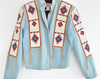 VTG 80s Denim Jacket with Native American Inspired Embroidery and  Beaded Leather Tassels