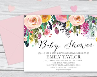 Floral Baby Shower Invitation, It's a Girl Shower Invite, Bridal Shower Card, Floral Baby Shower, Boho Girl Baby Invite, Instant Download 10