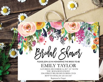 Bridal Shower Invitation, Printable Bridal Shower, Boho Bridal Shower, Instant Digital Download File, Flower Bridal Shower, Floral Bridal 1