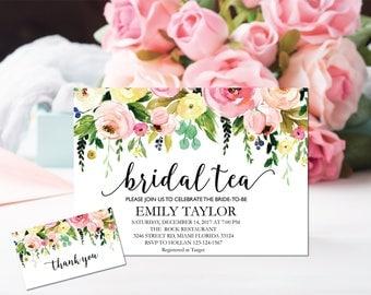 Printable Bridal Tea Party Invitation, Bridal Tea Invite Template,  Flower Bridal Tea Bridal Tea, Bridal Tea Party, INSTANT DOWNLOAD, BR-F5
