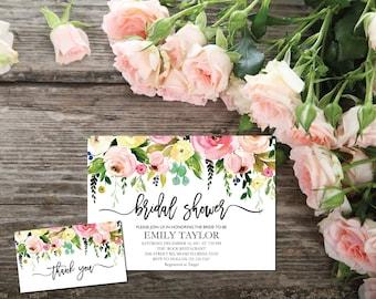 Bridal Shower Invitation, Printable Bridal Shower, Bridal Shower Template, Instant Download File, Flower Bridal Shower Gift, Bridal F-04