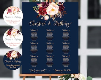 PRINTABLE Wedding Seating Chart, Wedding Seating Chart, Wedding seating template, Navy seating chart, Seating chart, Find Your Seat #Navy136